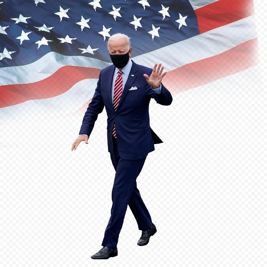 HD Joe Biden President Hello Hand Sign With US Flag PNG