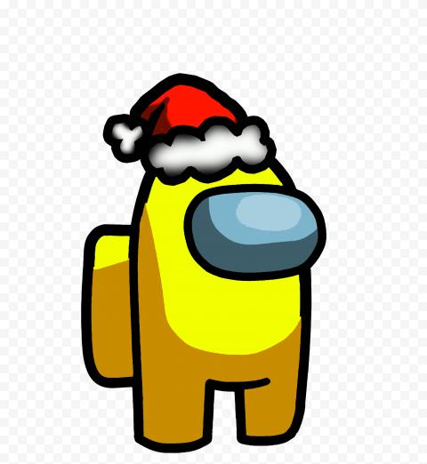 HD Yellow Among Us Crewmate Character With Santa Hat PNG