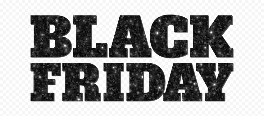 HD Black Friday Text Logo Black & White Glitter PNG