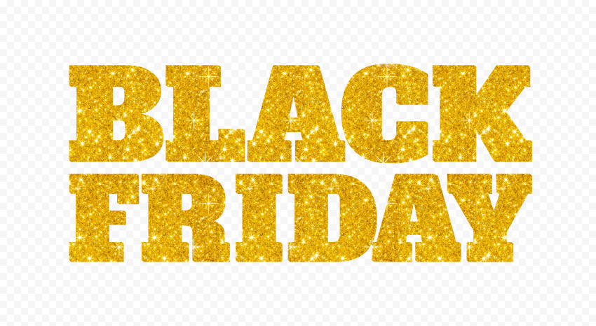 HD Black Friday Text Logo Yellow Gold Glitter PNG