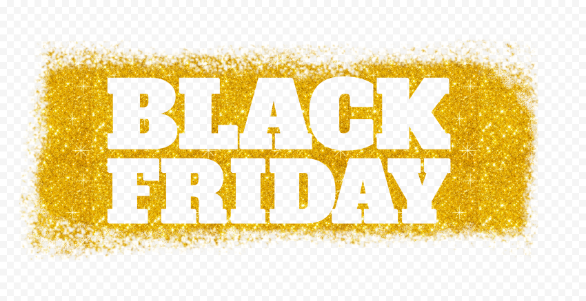 HD Black Friday Text Logo Outline In Yellow Gold Glitter PNG