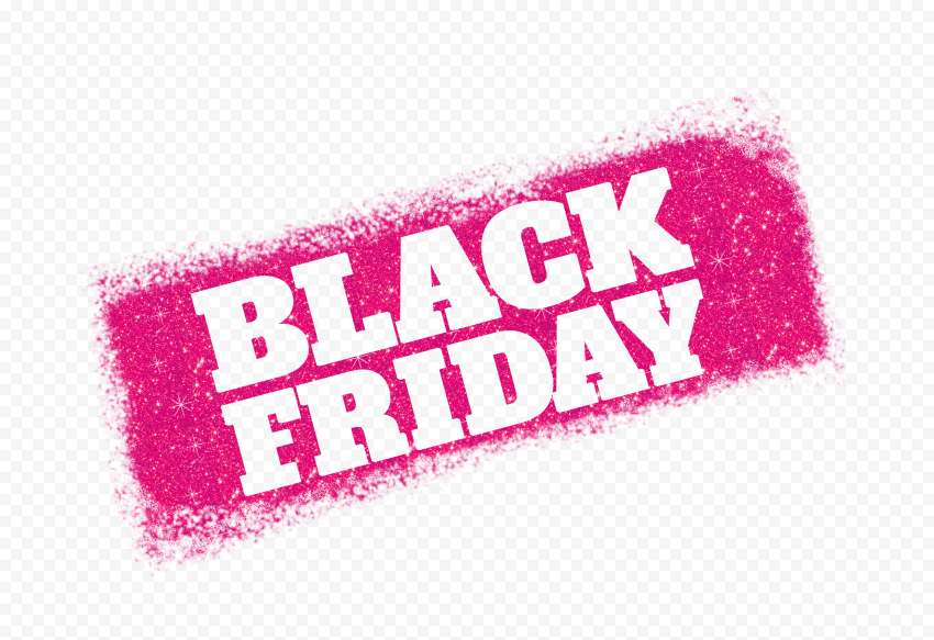 HD Black Friday Text Logo Outline In Pink Glitter PNG