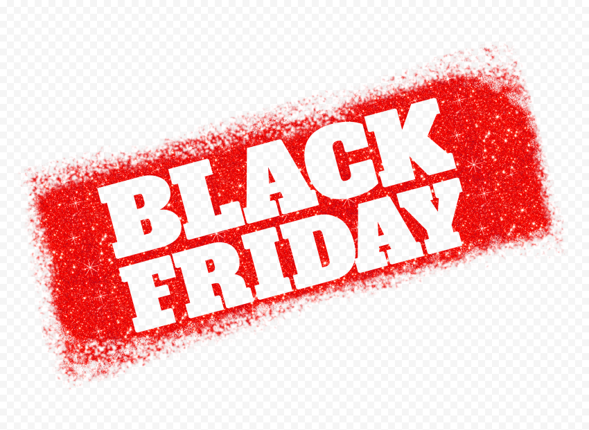 HD Black Friday Text Logo Outline In Red Glitter PNG