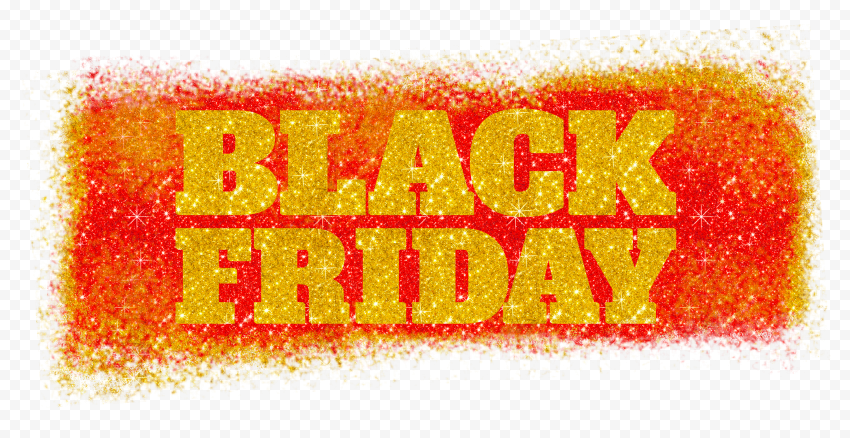 HD Black Friday Text Logo Outline In Red & Gold Glitter PNG