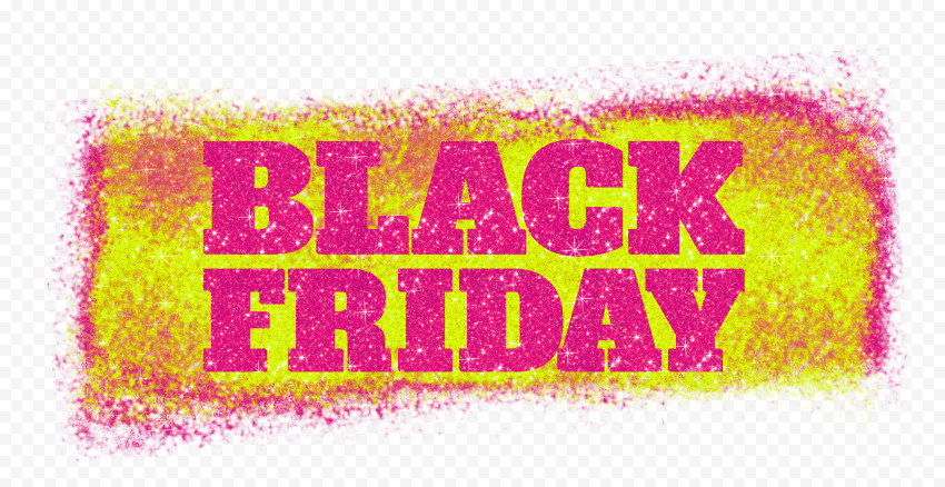HD Black Friday Text Logo Outline In Pink & Yellow Glitter PNG