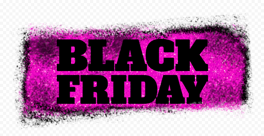 HD Black Friday Text Logo Outline In Black & Pink Glitter PNG