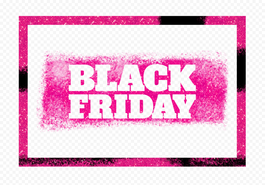 HD Black Friday Logo With Frame Pink Glitter PNG
