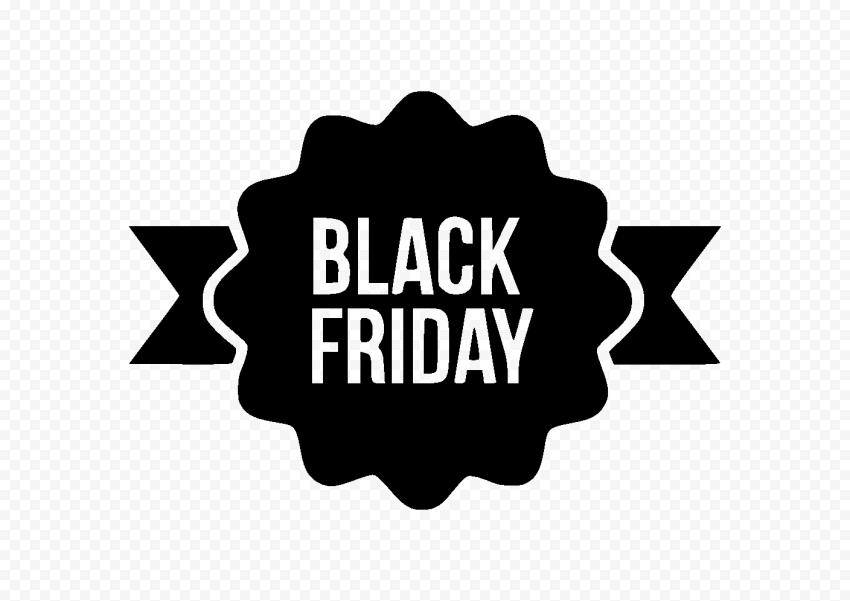 HD Outline Black Friday Ribbon Logo PNG