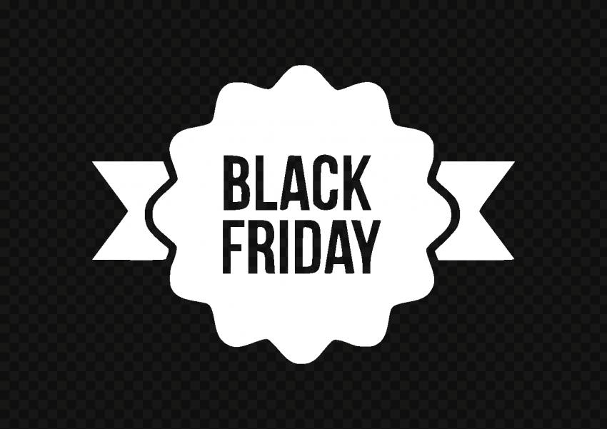 HD Outline Black Friday White Ribbon Logo PNG
