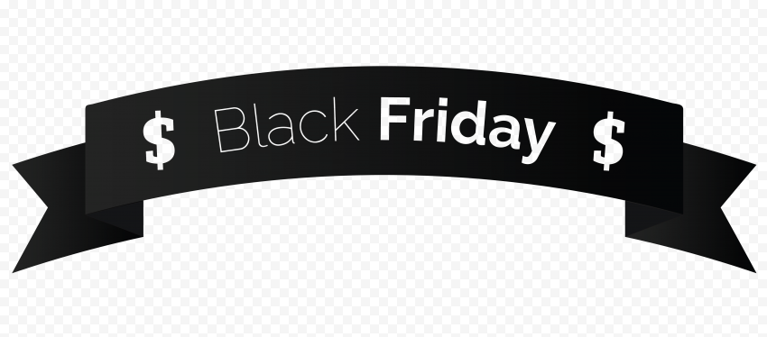 HD Black Friday Outline Ribbon Discount Sales PNG