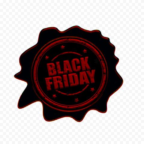 HD Black & Red Stamp Black Friday Logo Sign PNG