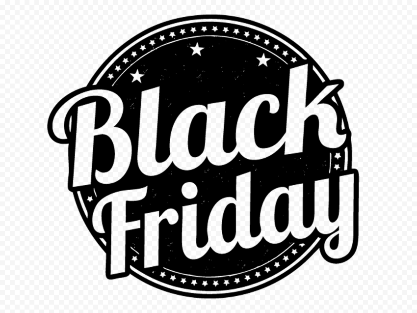 HD Round Outline Black Friday Logo Icon PNG