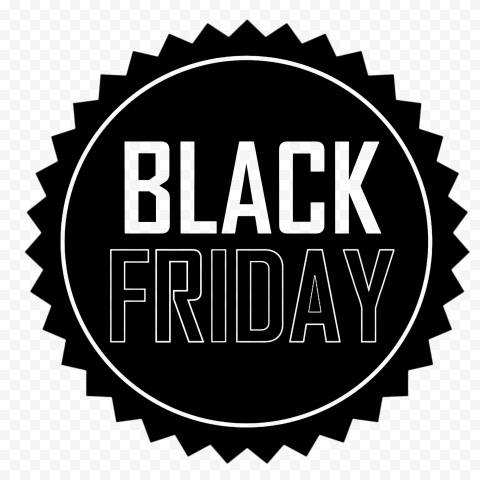HD Round Outline Black Friday Label Logo Icon PNG