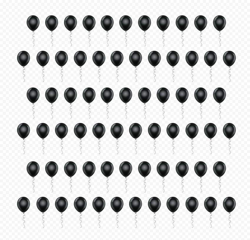 HD Black Balloons Pattern PNG