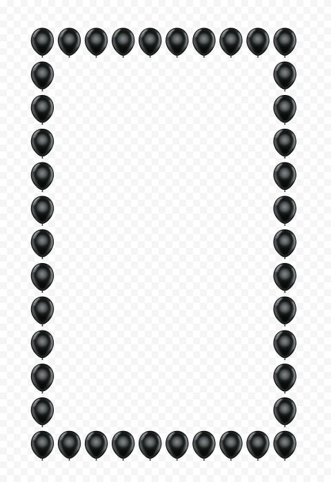 HD Black Balloons Vertical Frame PNG