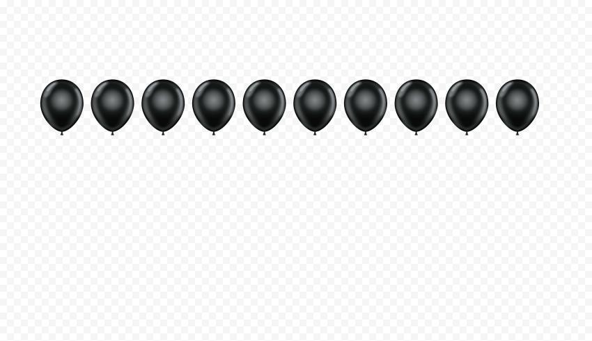 HD Black Balloons Horizontal Border PNG