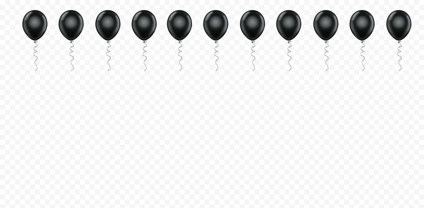 HD Black Balloons Border Horizontal PNG