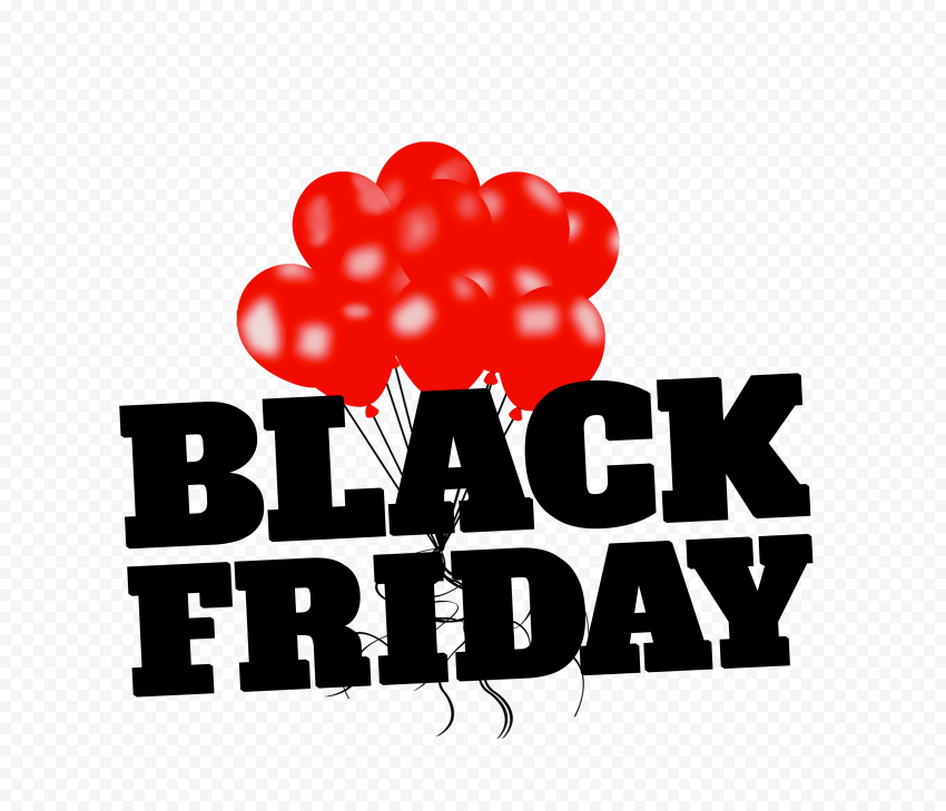 HD Black Friday Text With Red Balloons Logo PNG