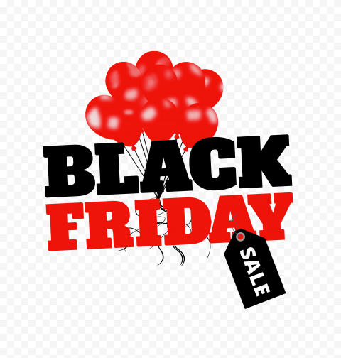 HD Beautiful Black Friday Sale Design With Red Balloons PNG