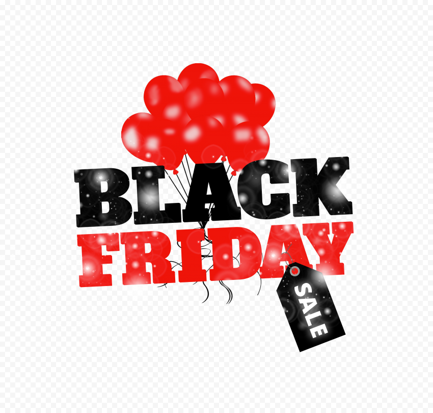 HD Creative Black Friday Sale Design With Red Balloons PNG