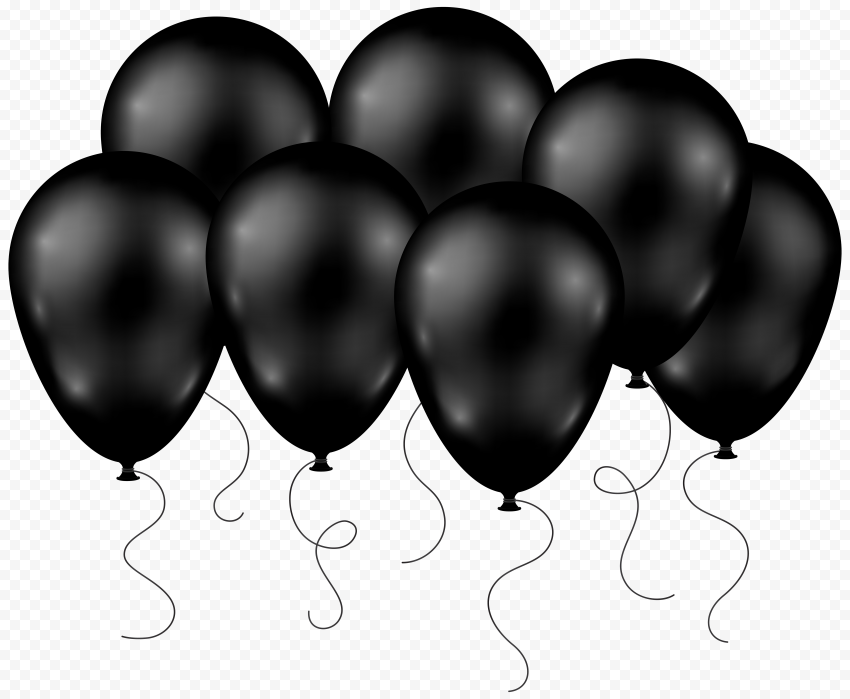 HD Group Of Black Balloons Flying PNG