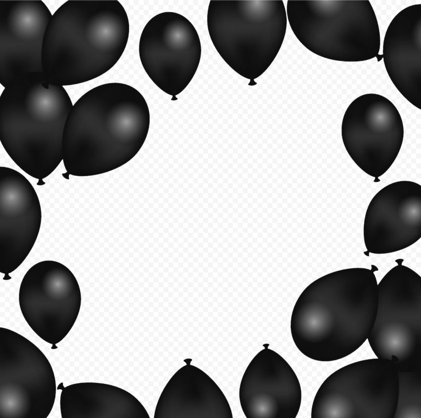 HD Black Balloons Background Frame PNG