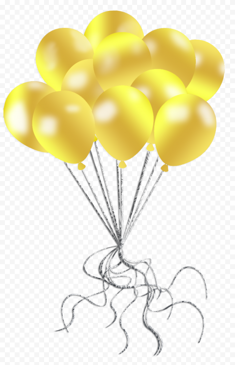HD Yellow Golden Gold Balloons Decorations PNG