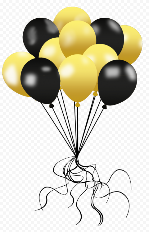 HD Gold & Black Balloons Decorations PNG