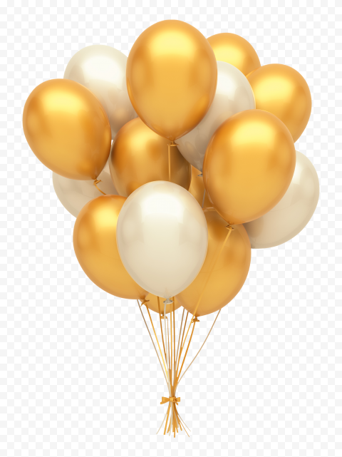 HD Gold & Silver Balloons Decorations PNG