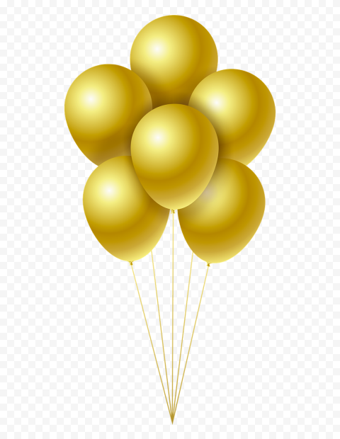 HD Gold Balloons Flying PNG