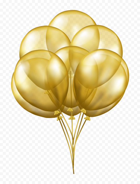 HD Golden Gold 3D Balloons Flying PNG