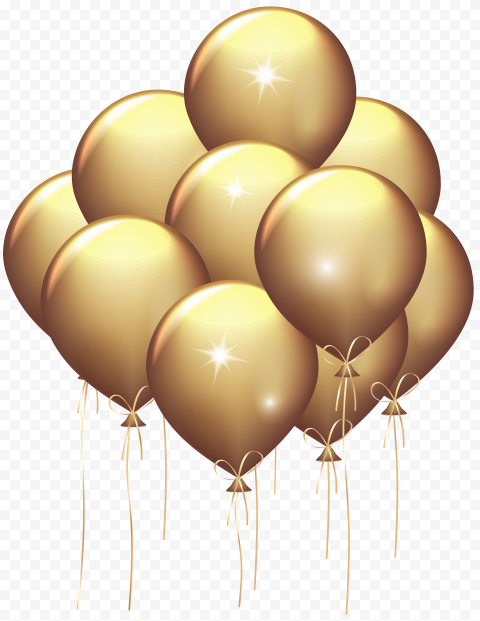 HD Group Of Aesthetic Beautiful Gold Ballons Flying PNG
