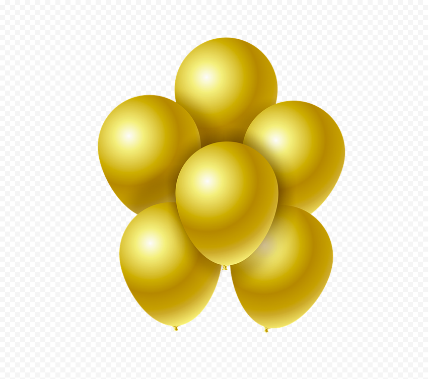 HD Group Of Gold Balloons PNG