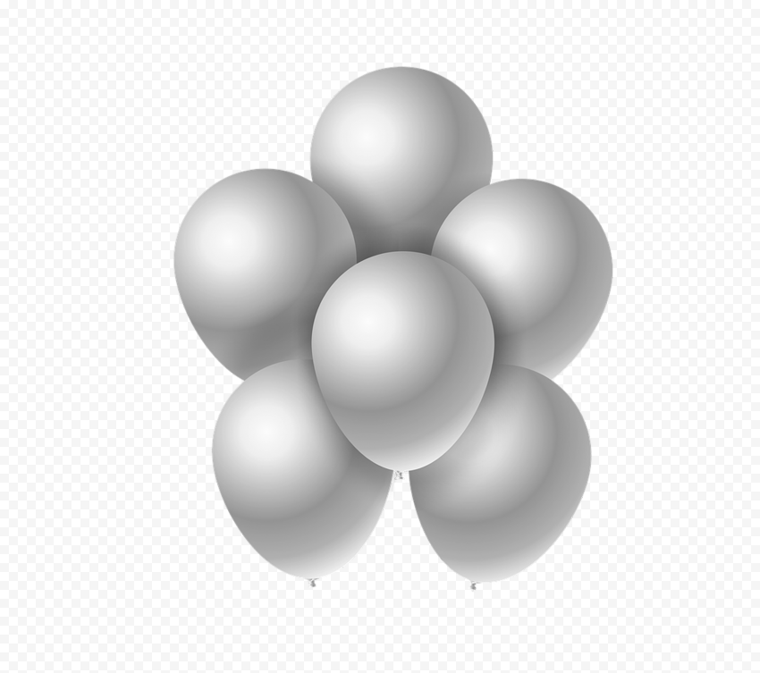 HD Group Of White Silver Balloons PNG