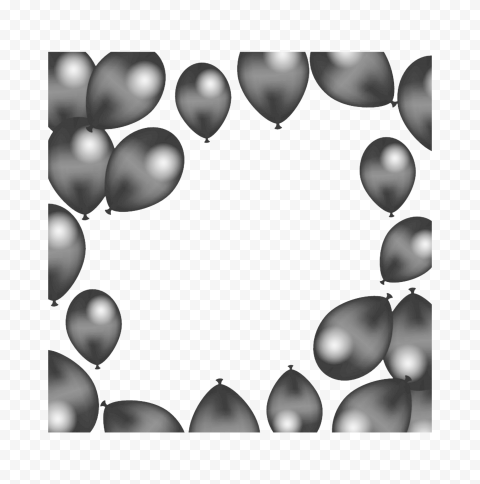 HD Silver Balloons Background Frame PNG