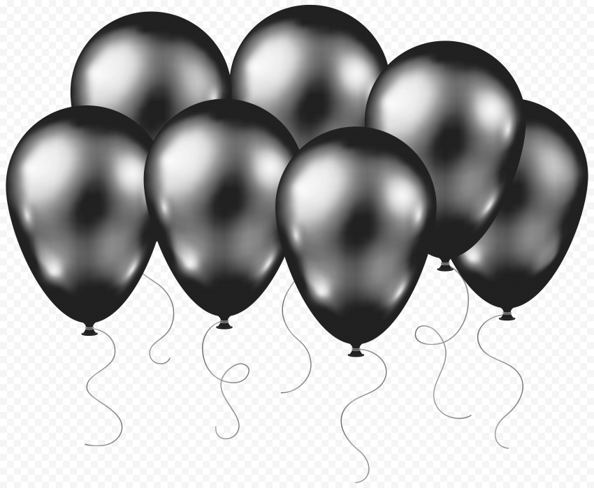 HD Group Of Silver Balloons Flying PNG