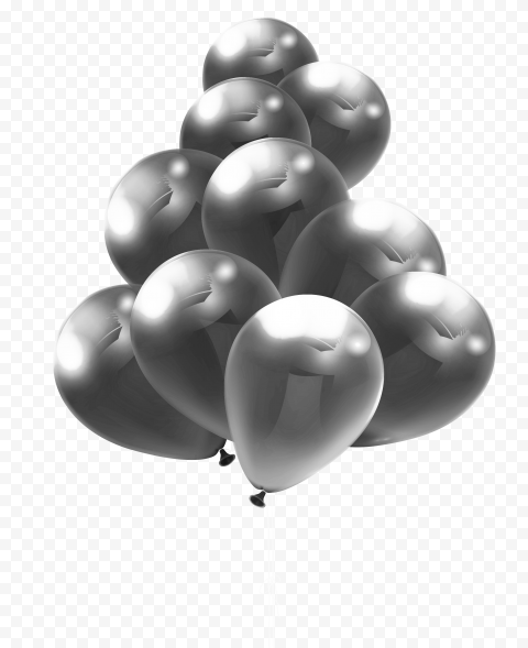 HD Beautiful Group Of Silver Balloons PNG