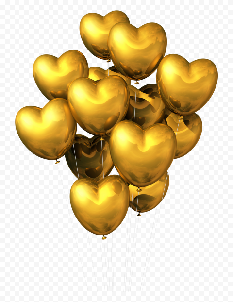 HD Group Of Golden Heart Balloons Flying PNG