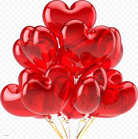 HD Group Of Red Heart Balloons Love Valentines PNG