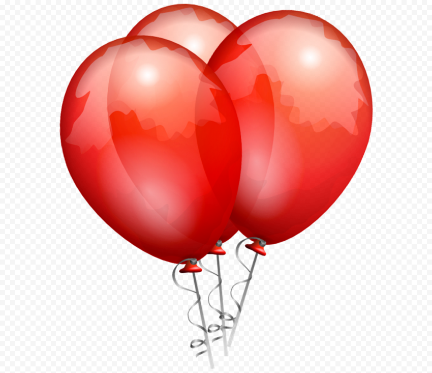 HD Three Beautiful Red Balloons Illustration PNG