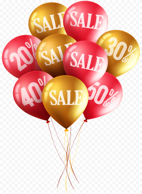HD Red & Gold Sale Discount Marketing Balloons PNG