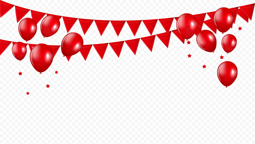 HD Celebration Red Balloons With Ribbon PNG