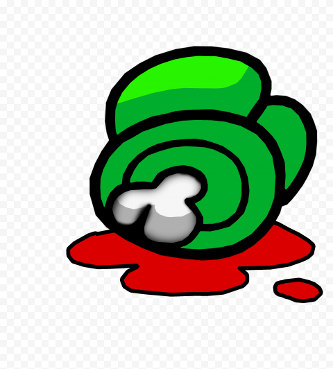 HD Lime Among Us Crewmate Character Dead Body With Blood PNG