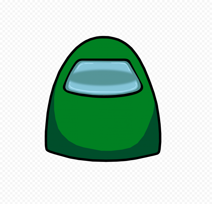 HD Green Among Us Character Crewmate Face Front View PNG