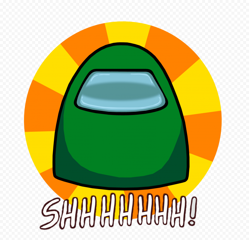 HD Green Among Us Crewmate Shhh Logo Without Hand PNG