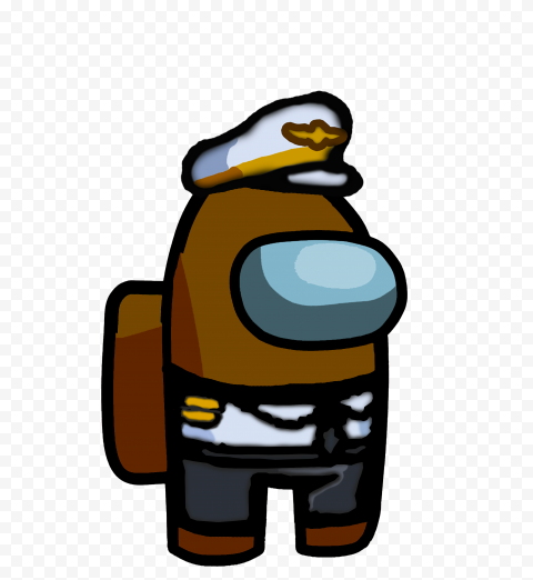 HD Brown Among Us Crewmate Character With Captain Costume PNG
