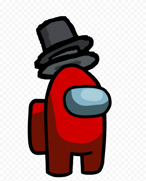HD Red Among Us Crewmate Character With Double Top Hat PNG