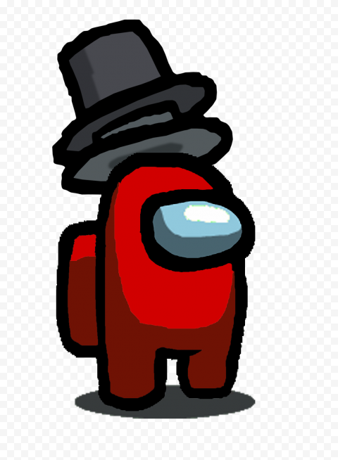 HD Red Among Us Character With Double Top Hat PNG