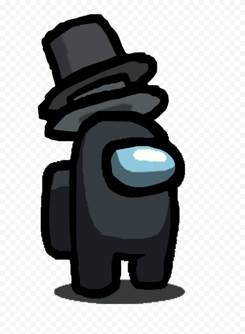 HD Black Among Us Character With Double Top Hat PNG