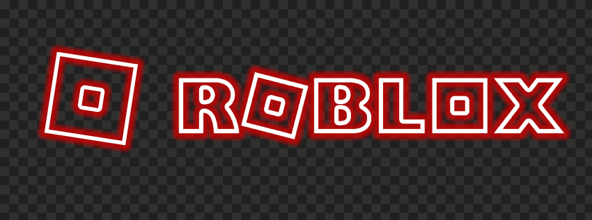 HD Roblox Horizontal Red Neon Text Logo With Symbol Sign Icon PNG